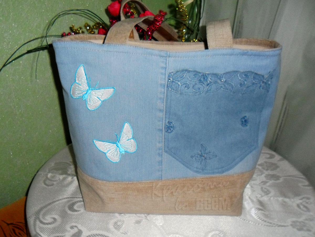 Оригинальные сумки из старых джинсов с аппликацией в виде голубых бабочек