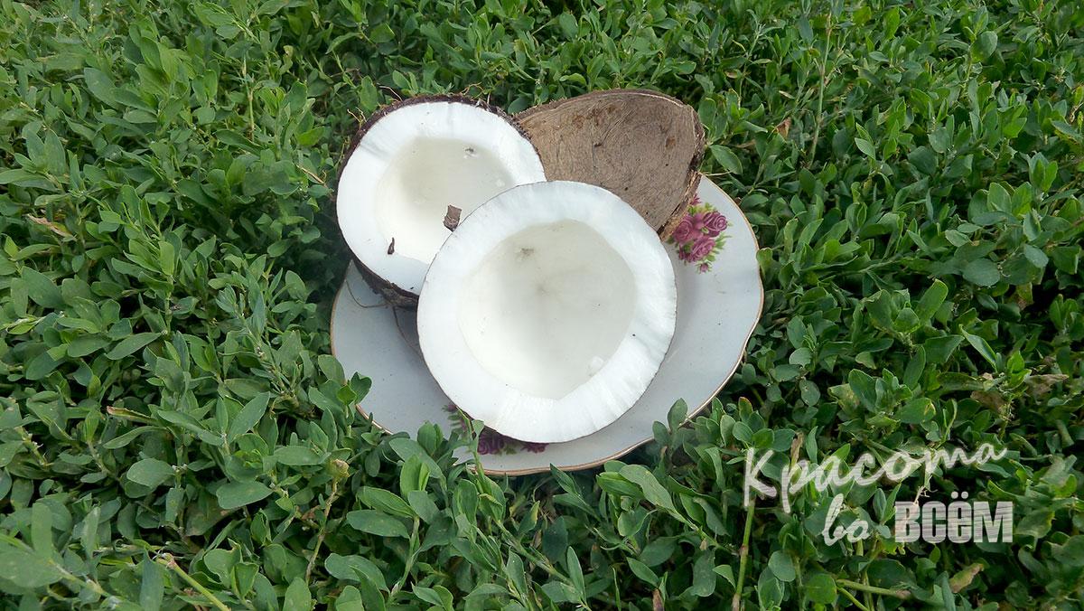 Кокосовое масло для красоты волос. Раскрытый кокос.